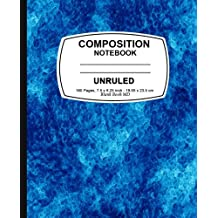 Unruled composition notebook: Blue Marble, Unruled Composition Notebook, 7.5 x 9.25, 160 Pages For for School...