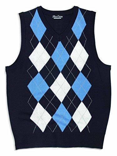 Navy Blue Argyle Sweater - 3