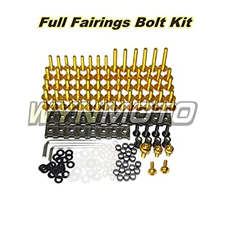 Gold WYNMOTO US Stock Complete Motorcycle Fairing Aluminum Fasteners Bolt Kit For Kawasaki ZX6R 2009-2012 09 10 11 12 New Body Screws Hardware Clips