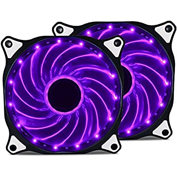 Vetroo 120mm Purple 15-LEDs Cooling Fan for Computer PC Cases, CPU Coolers and Radiators, 2-Pack