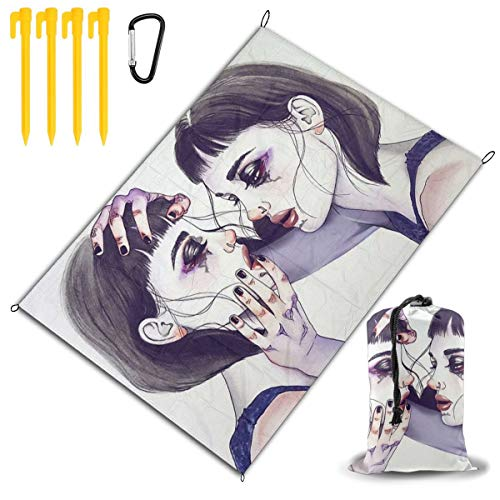 LHLX HOME Gothic Lesbian Girl Woman Picnic Blanket Handy Beach Mat with Waterproof Backing Anti Sand for Picnics, Beaches, Camping and Outings 78x57