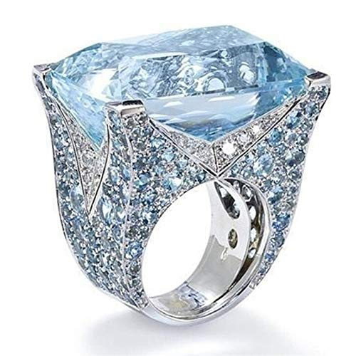 Blue Sapphire Statement Ring Engagement Wedding Promise Band Ring for Women