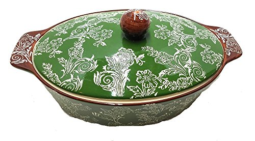 """Oven to Table 2.5 Quart Ceramic Covered Casserole plus """"Made With Love"""" Chefs Apron (Green + Brown)"""