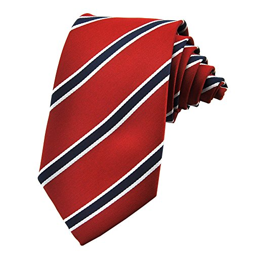 PenSee Mens Striped Tie Jacquard Woven Silk Stripes Neckties - Various Colors & Styles