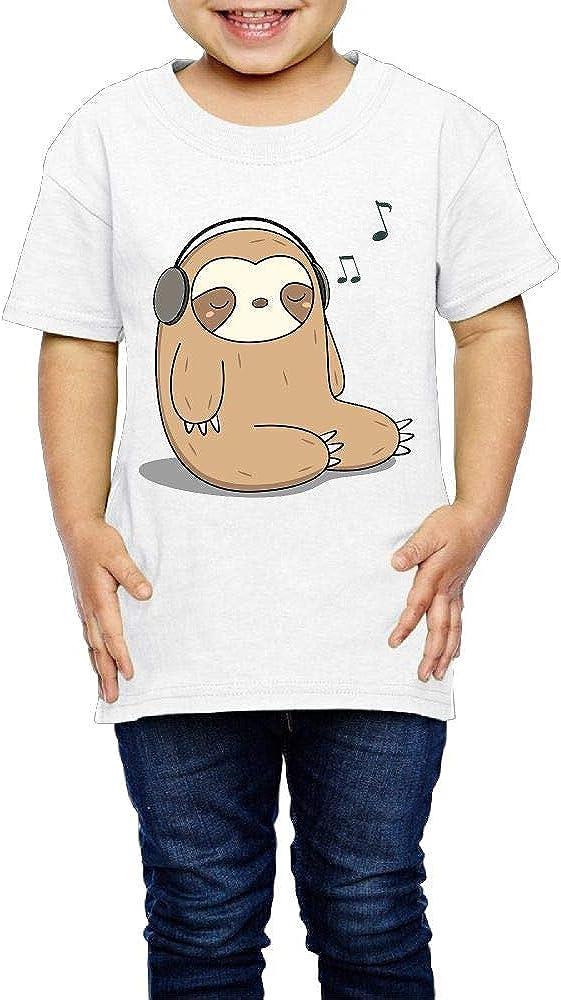 Kcloer24 Sloth Listening to Music Girls Boys Cute T-Shirt Summer Tee 2-6 Years Old