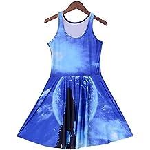 Women Summer Galaxy Rainbow Nebula 3D Print Reversible Skater Pleated Dress