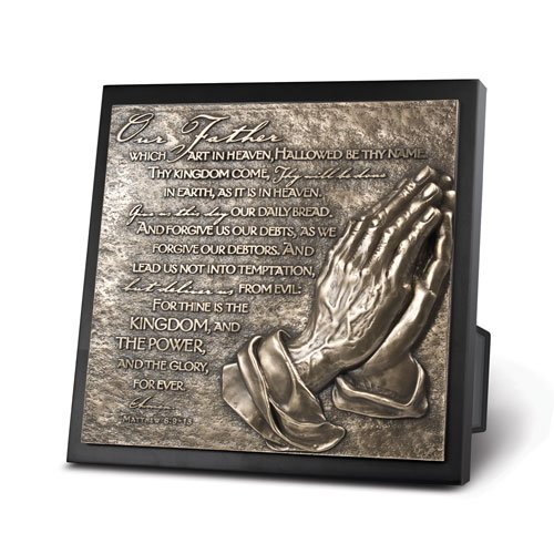 Prayer Stand (3-D Sculpted Hand-Cast Resin Plaque with Easel Stand and Wall Hanger, Size 8.75x8.75 inches (Lord's)