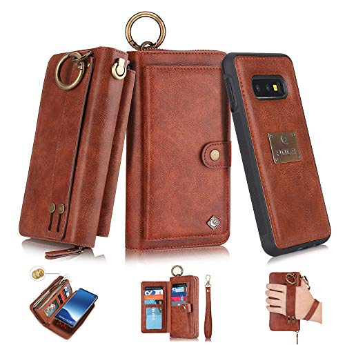 Galaxy S10e Flip Wallet Case,SXTBMR Magnetic Detachable Handmade Cowhide Wallet Case Leather,Zipper Wallet Flip Protective Case Cover with Card Holder [Wrist Strap] for Samsung Galaxy S10e Brown