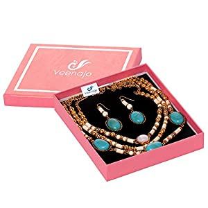 Veenajo Ladies Gold Tone Retro Dramatic Multilayer Oval Beads Necklace and Dangle Earrings Jewelry Set