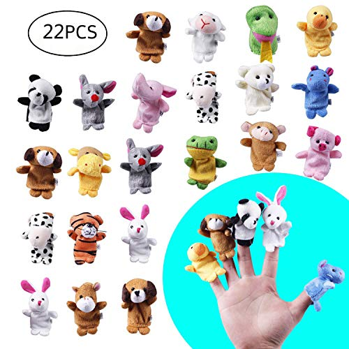 (22pcs Soft Plush Animal Finger Puppets Set Baby Story Time for Theme Party Favor)
