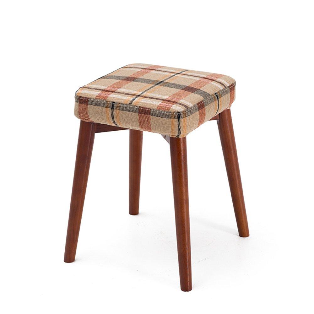 スクエアスツールは、積み重ねのスツール、創造的なファッションドレッシングスツール、布テーブルスツール、家庭用小ベンチ、木製のスツール ( 色 : Rice red ) B07BH14FDYRice red