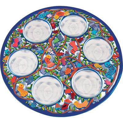 Passover Seder Plate Set - Yair Emanuel PASSOVER SEDER PLATE LASER CUT HAND PAINTING BIRDES (Bundle) Arbel Judaica AR-SPL-2
