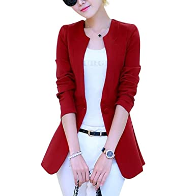 071facac5b8 Emmay Longblazer Women s Fall Slim Fit Coats Long Sleeve Round Neck Button  Business Party Style Solid