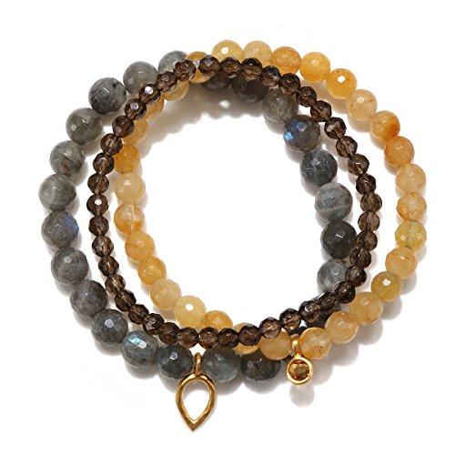 (Satya Jewelry Labradorite, Yellow Jade, Smokey Quartz, Citrine Gold Plate Lotus Petal Stretch Bracelet)