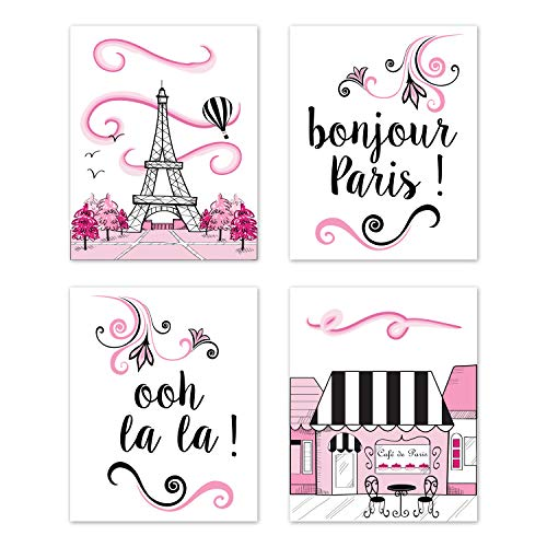 - Sweet Jojo Designs Pink, Black and White Eiffel Tower Wall Art Prints Room Decor for Baby, Nursery, and Kids for Paris Collection - Set of 4 - French Cafe