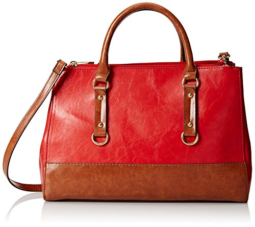 emilie-m-kimberley-two-tone-double-zipper-satchel-shoulder-bag-red-one-size