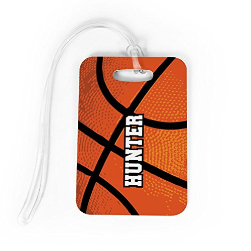 Basketball Luggage & Bag Tag | Personalized Basketball Texture | No Personalization on Back | MEDIUM ()