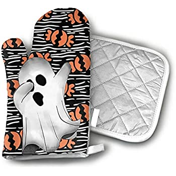 TRENDCAT Creepy Dabbing Funny Ghost Halloween Oven Mitts and Potholders (2-Piece Sets) - Extra Long Professional Heat Resistant Pot Holder & Baking Gloves - Food Safe