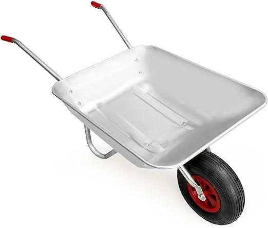 Gardebruk Carretilla 80L de acero galvanizado con rueda para jardinería y obras diarias carga máx de 100 Kg jardín: Amazon.es: Jardín