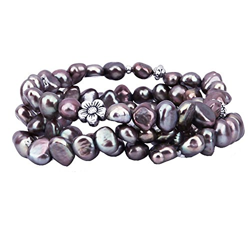 - Genuine Freshwater Cultured Pearl 7-8mm Stretch Bracelets with Base-Metal-Beads (Set of 3) 7.5