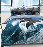 Linen Galaxy Animal Designs Panel Print Polycotton Duvet Cover Sets with Pillow Cases Bedding (Dolphin Wave, Double)