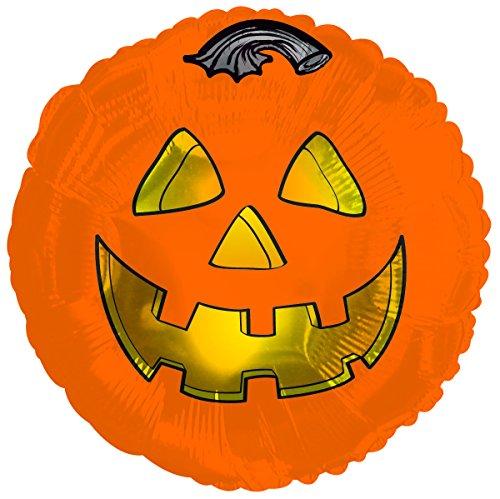 Halloween Metallic Pumpkin 17 Inch Mylar Balloon Bulk (5 Pack) -