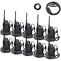 Goldenwide BaoFeng BF-888S Two Way Radio (Pack of 10) Frequency range UHF 400-470MHz 16CH Walkie Talkies with Earpieces and Programming Cable for party, Meeting, Travelling (Black)