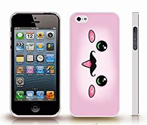 iStar Cases? iPhone 4 Case with Cute Pink Animated Face with Mustache Design , Snap-on Cover, Hard Carrying Case (White)