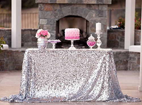 B-COOL Silver Sequin Tablecloth 50