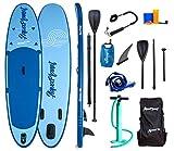 AQUAPLANET 10ft ALLROUND Paddle board - Beginner's Kit. Air Pump With Pressure Gauge,Adjustable Aluminium Floating Paddle,Repair Kit,Heavy Duty Carry Rucksack & Premium Leash & 4 Kayak Seat Rings