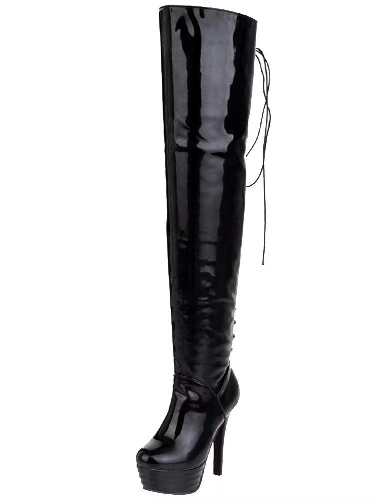 AIYOUMEI Damen Geschlossen Lack Overknee Stiefel mit Plateau und Schnürung Stiletto Langschaft Stiefel  37 EU|Schwarz
