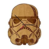 Inked and Screened Star Wars Stormtrooper Helmet Science Fiction Inspired Laser Engraved Wall Clock, Black Cherry Wood