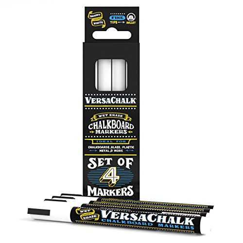 White Chalkboard Chalk Markers by VersaChalk (Fine Markers) | Dust Free, Water-Based, Non-Toxic Wet Erase Chalk Ink Pens