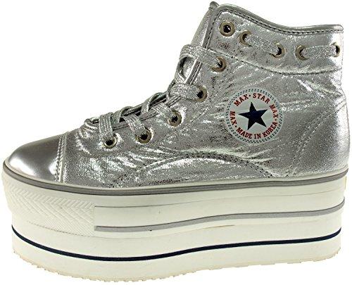 doppelter Kunstleder mit High aus Sneakers Top Runde Maxstar Plateausohle x4U7WOnAv