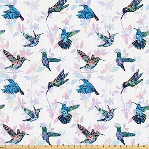 Lunarable Hummingbirds Fabric by The Yard, Tropical Animal Pattern Wildlife Inspirations Exotic Flying Creatures Print, Microfiber Fabric for Arts and Crafts Textiles & Decor, 1 Yard, Multicolor from Lunarable