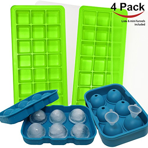 Jalousie 4 Pack Silicone Ice Cube Trays with lids 2 square cube trays and 2 round ball sphere with small funnel reusable by Jalousie