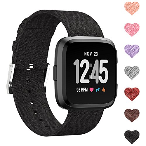 Sunnywoo for Fitbit Versa Bands, Versa Woven Bands Breathable Canvas Fitbit Versa Replacement Bands Built-in Quick Release Pin Stainless Steel Buckle Watch Band for Fitbit Versa