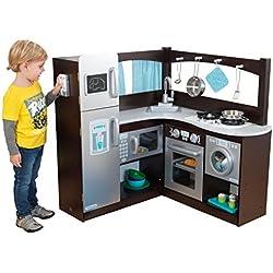 KidKraft Corner Kitchen Toy, Espresso/Silver