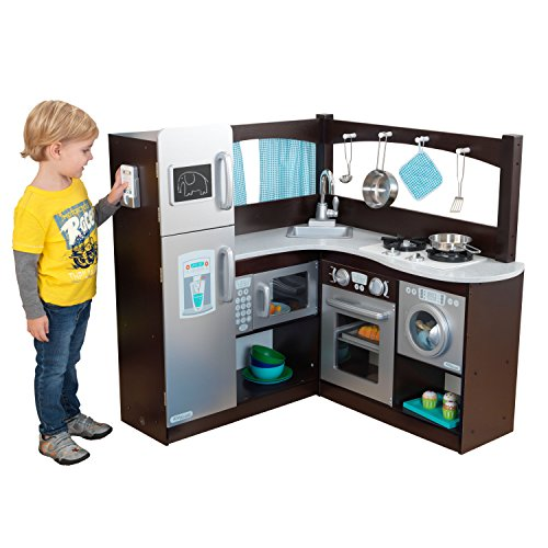 KidKraft Corner Kitchen Toy, Espresso/Silver - Kidkraft Deluxe Kitchen