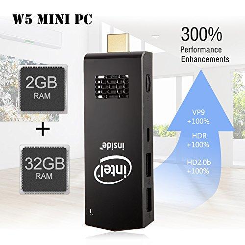 W5 Mini PC Windows 10 Computer Stick Intel Z3736F Quad Core up to 1.83GHz,2GB RAM 32GB ROM,H.265 with Built in Wifi,Bluetooth 4.0 by NEXBOX (Image #3)'