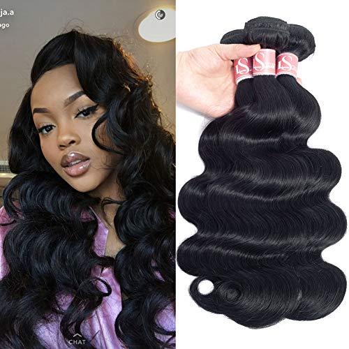 LSHAIR Brazilian Virgin Hair Body Wave 3 Bundles 8A Grade Unprocessed Human Hair Bundles Brazilian Body Wave 10'' 12'' 14'' Natural Black Color 3 Bundles of Brazilian Hair Total 300g