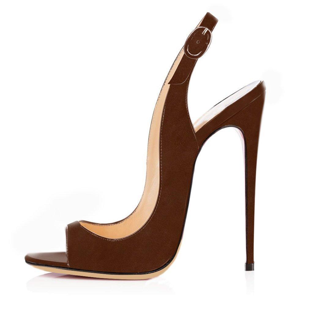 elashe Femmes Artisan à 2010 Ouverts Fashion Sandales Décolletés Bout Ouverts Chaussures à Talon Haut de 120mm Marron-Suede 470a2e6 - avtodorozhniks.space