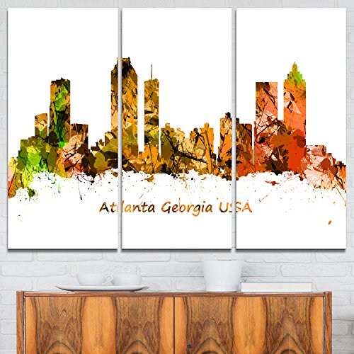 Designart Atlanta Georgia Skyline-Cityscape Painting Canvas Art Print-36x28in-Multipanel 3 Piece, 36x28-3 Panels, Orange