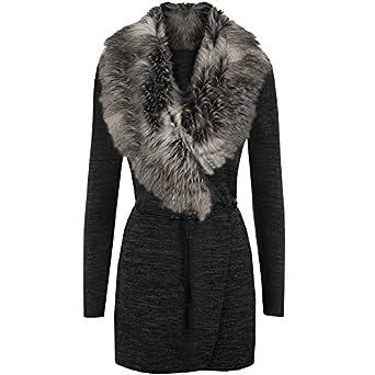 f8fd32906 New Women Marl Knit Faux Fur Collar Cardigan Belt Ladies Long Sleeve ...