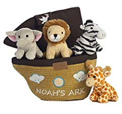 "Aurora World's Noah's Ark Carrier measures 8"" and is part of the baby talk line of baby-safe toys. The soft plush Carrier holds removable plush characters which each have sound and range in size from 2\""-4\"". included inside are a Giraffe (r..."