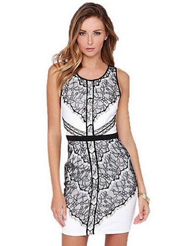 PU&PU Robe Aux femmes Gaine Simple,Mosaïque Col Arrondi Au dessus du genou Acrylique / Polyester , black-2xl , black-2xl