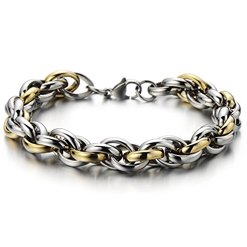 Stainless Bracelet Braided Two tone Polished