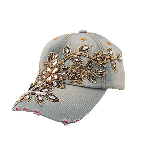 FTSUCQ Womens/Big Girls Drill Flower Sunshading Cowboy Hat baseball Cap,Jean-white