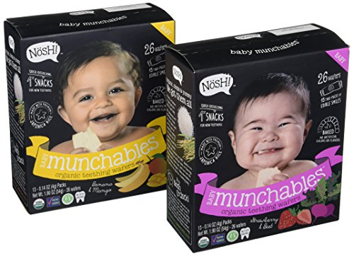(Nosh Baby Munchables Teethers Organic Rice Teething Wafers, 26 Piece, Sampler Pack (Pack of 2), Strawberry Beet & Banana Mango)