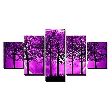 Amazon.com: KLKLDD 5 Pieces Purple Moon Night Psychedelic ...